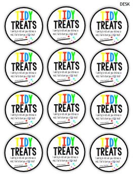 Tidy Treat Reward Cards for desks, tables or cubbies!