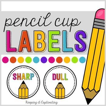 Pencil Cup Labels