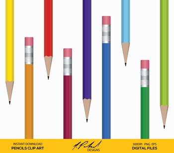 ... Pencil Digital Clip Art   Pencils Clipart   Pencils Vector Art   School  Supplies