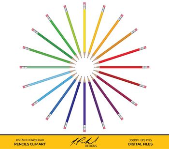 Pencil Digital Clip Art - Pencils Clipart - Pencils Vector Art - School Supplies