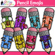 Pencil Emoji Clip Art {Back to School Emoticons and Smiley Faces for Brag Tags}