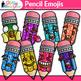 Pencil Emoji Clip Art   Back to School Emoticon and Smiley Faces for Class Decor