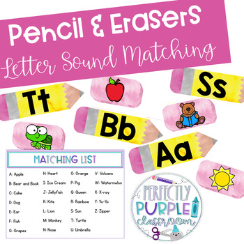 Pencil & Erasers Letter Sounds Matching