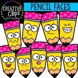 Pencil Faces: School Clipart {Creative Clips Clipart}