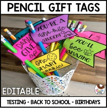 Testing Treat | Birthday Gift - Pencil Flag Toppers - Editable!