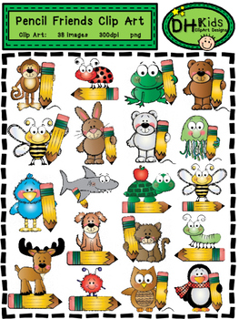 Pencil Friends Clip Art - Personal and Commercial Use