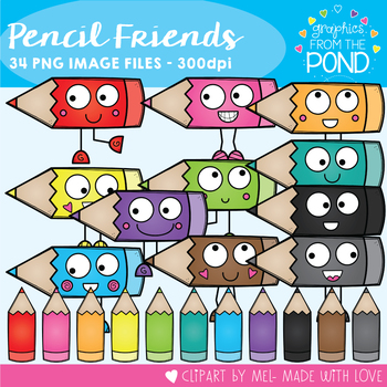 Pencil Friends Clipart Set