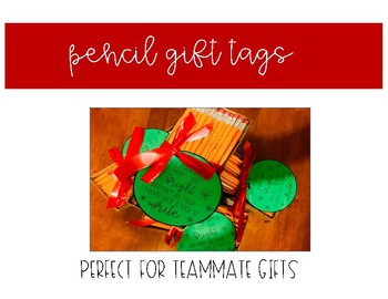 Pencil Gift Tags for Teammate Gifts