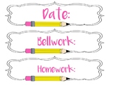 Pencil Graphic Classroom Labelling Kit
