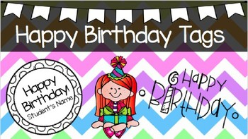 Pencil Happy Birthday Tags