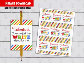 Pencil Holder Valentine's Day Card DIY Printable, You are the WRITE for me