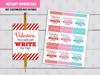 Pencil Holder Valentine's Day Card DIY Printable, You are the WRITE one for me