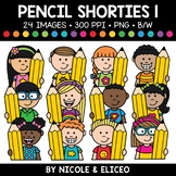 Pencil Kid Shorties Clipart 1