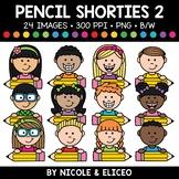 Pencil Kid Shorties Clipart 2