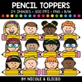 Pencil Kid Toppers Clipart
