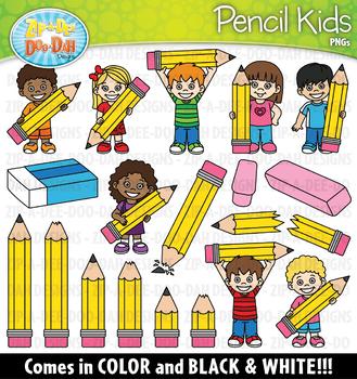 Pencil Kids Clipart Set {Zip-A-Dee-Doo-Dah Designs}