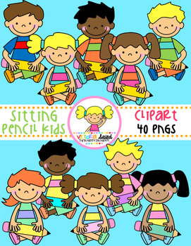 Pencil Kids Clipart {sitting}