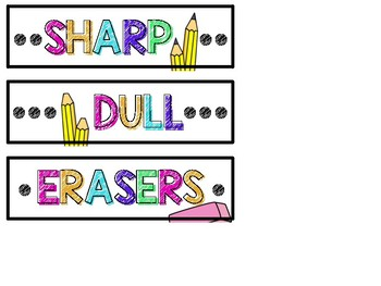 Pencil Labels - Bright & Colorful - Sharp, Dull, & Erasers