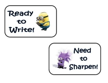 Pencil Labels Minion Themed