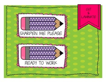 Pencil Labels- Polka Dots