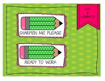 Pencil Labels- Polka Dots
