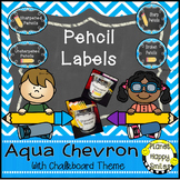 Pencil Labels - Sharpened/Unsharpened or Sharp/Broken, Aqua and Chalkboard Theme