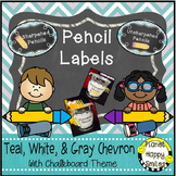 Pencil Labels - Sharpened/Unsharpened or Sharp/Broken, Teal and Chalkboard Theme