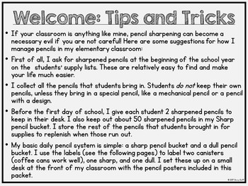 Pencil Labels and Posters Classroom Management