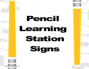 Pencil Learning Station Signs