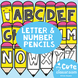 Pencil Letters and Numbers - Bulletin Boards + Decor