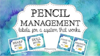 Pencil Management Labels {Cool Watercolor}