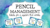 Pencil Management Labels {Cool Watercolor}