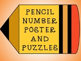 Pencil Number Poster and Puzzles