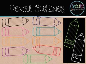 Pencil Outlines - Digital Clipart
