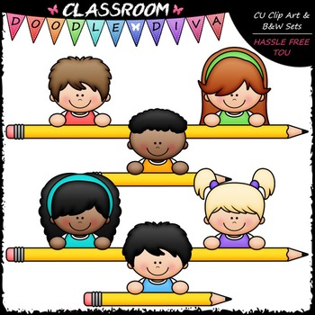 Pencil Page Topper Kids Clip Art - Pencil Toppers