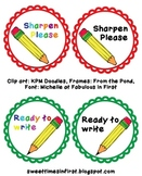 Pencil Pail Labels Ready to Write and Sharpen Please