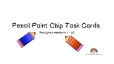 Pencil Paint Chip Task Cards Identify Draw Numbers 1-20