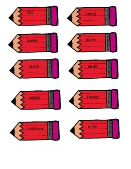 FREE File Folder Game - Pencil Pairs Antonyms