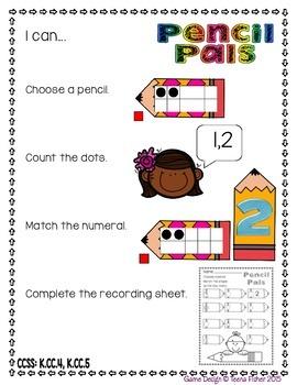Pencil Pals Counting Kindergarten Ten Frames