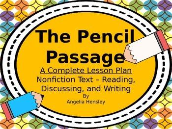 Pencil Passage - A Common Core Nonfiction Lesson Plan