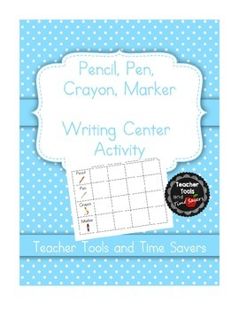 "Writing Center Activity for sight or spelling words ""Pencil Pen Crayon Marker"""