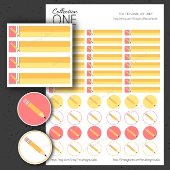 Pencil Planner Stickers - Printable Planner Stickers, Teacher
