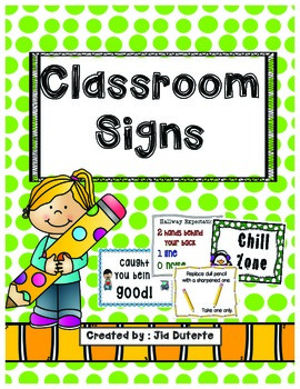 Signs and Posters for classroom management