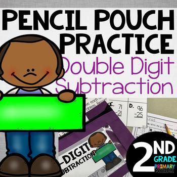 Pencil Pouch Practice {2 Digit Subtraction}