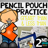 Pencil Pouch Practice {Greater Than and Less Than}