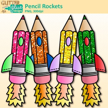 Pencil Rocket Clip Art | Back to School Graphics for Your Writing Checklist