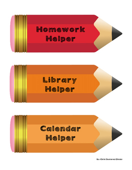Classroom Jobs for Bulletin Board - Pencil Shaped