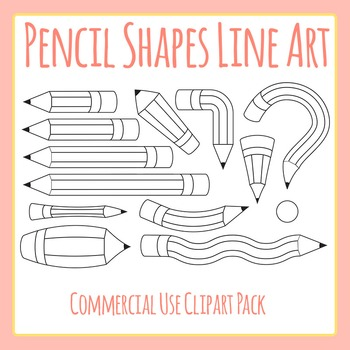 Pencil Shapes - Lengths & Opposites Line Art Clip Art Set for Commercial Uses