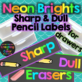 Pencil Sharp and Dull Drawer Labels - Classroom Decor - Neon Brights Chalkboard