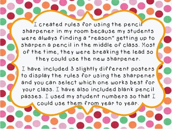**FREEBIE!!** Pencil Sharpener Rules Poster